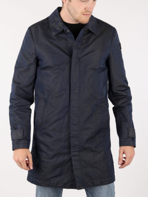 Bunda Trussardi Trench Regular Fit Gabardine Poly/Cotton Garment Modrá