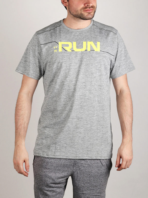 Tričko Under Armour Run Front Graphic SS Šedá