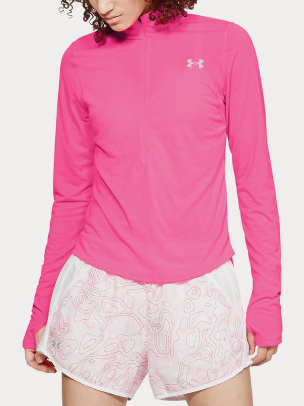 Tričko Under Armour Streaker 2.0 Half Zip Růžová