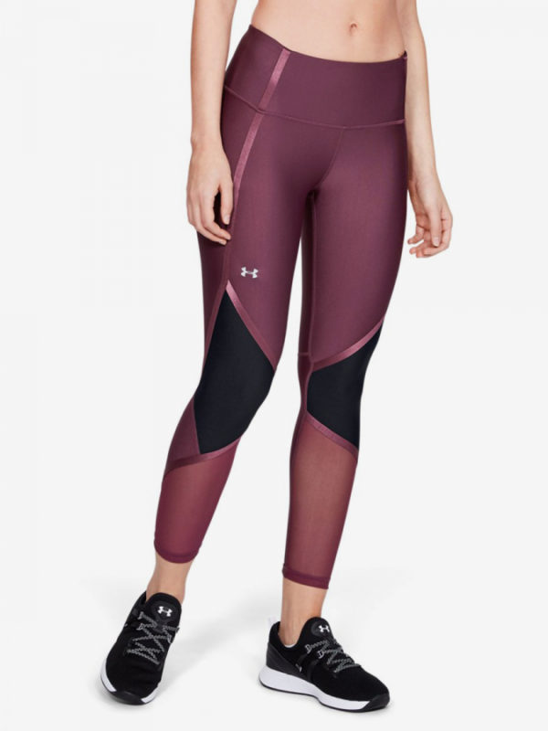 Kompresní legíny Under Armour Hg Shine Ankle Crop-Ppl Růžová