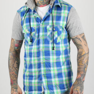 Košile Alcott CONTRAST SLEEVES CHECKS AND HOOD SHIRT Modrá