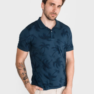 Allover Palm Polo triko Tommy Hilfiger Modrá